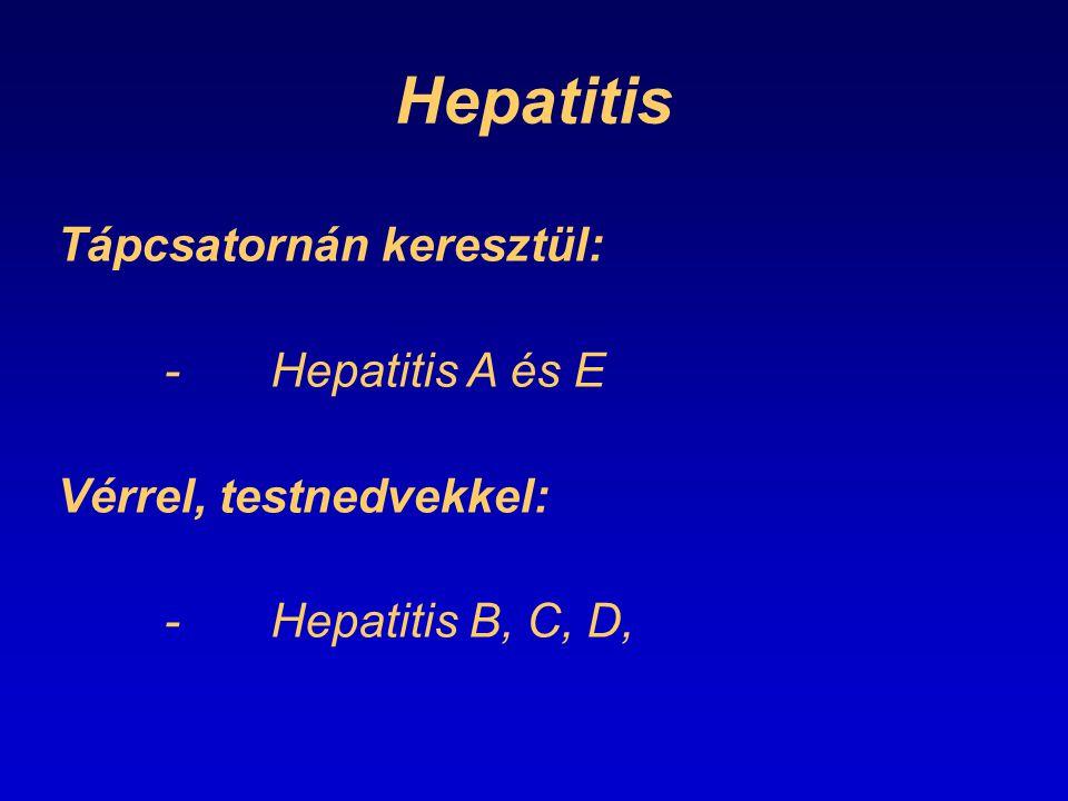Hepatitis Tápcsatornán keresztül: -Hepatitis A és E Vérrel, testnedvekkel: -Hepatitis B, C, D,