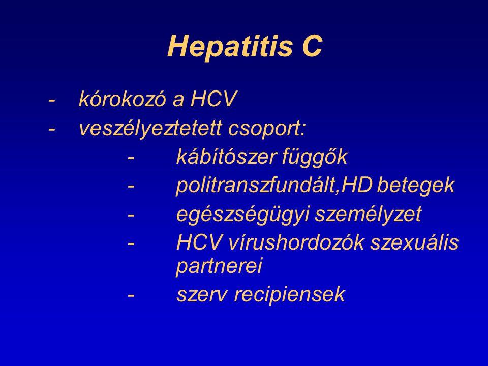 Hepatitis C -kórokozó a HCV -veszélyeztetett csoport: -kábítószer függők -politranszfundált,HD betegek -egészségügyi személyzet -HCV vírushordozók sze