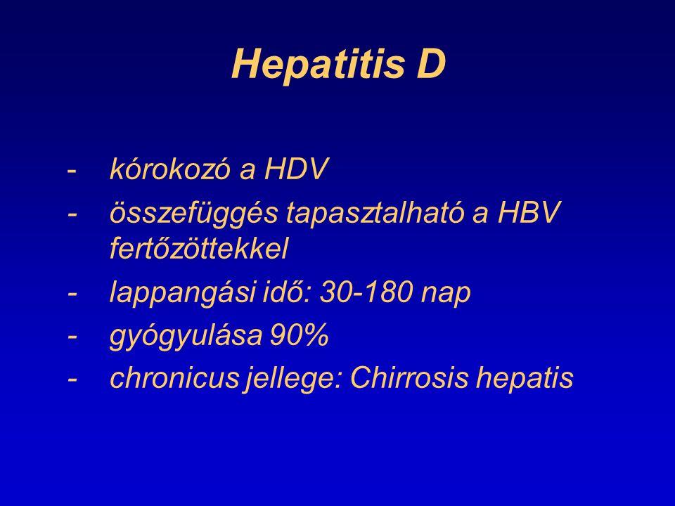 Hepatitis D -kórokozó a HDV -összefüggés tapasztalható a HBV fertőzöttekkel -lappangási idő: 30-180 nap -gyógyulása 90% -chronicus jellege: Chirrosis