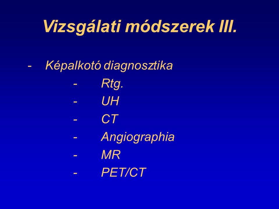 Vizsgálati módszerek III. -Képalkotó diagnosztika -Rtg. -UH -CT -Angiographia -MR -PET/CT