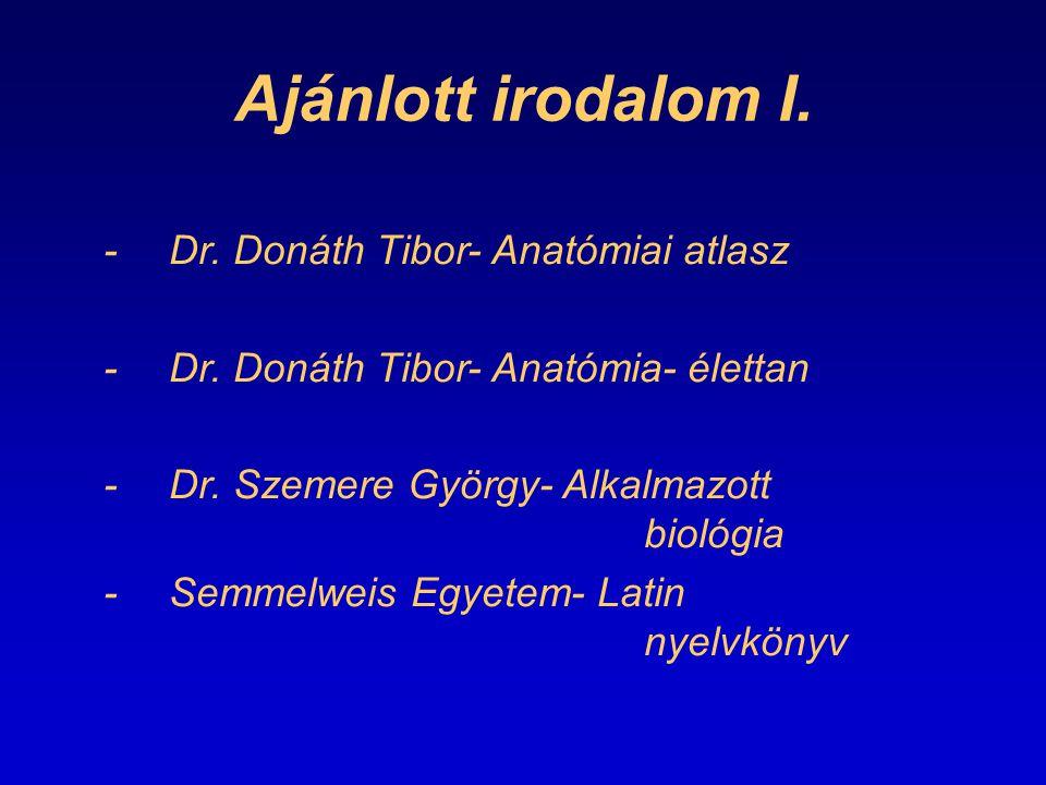 Ajánlott irodalom I. -Dr. Donáth Tibor- Anatómiai atlasz -Dr. Donáth Tibor- Anatómia- élettan -Dr. Szemere György- Alkalmazott biológia -Semmelweis Eg