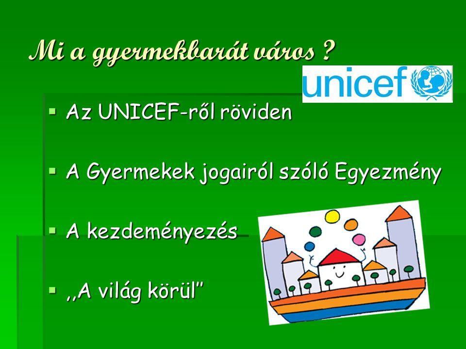 Mi a gyermekbarát város ?  Az UNICEF-ről röviden  A Gyermekek jogairól szóló Egyezmény  A kezdeményezés ,,A világ körül''