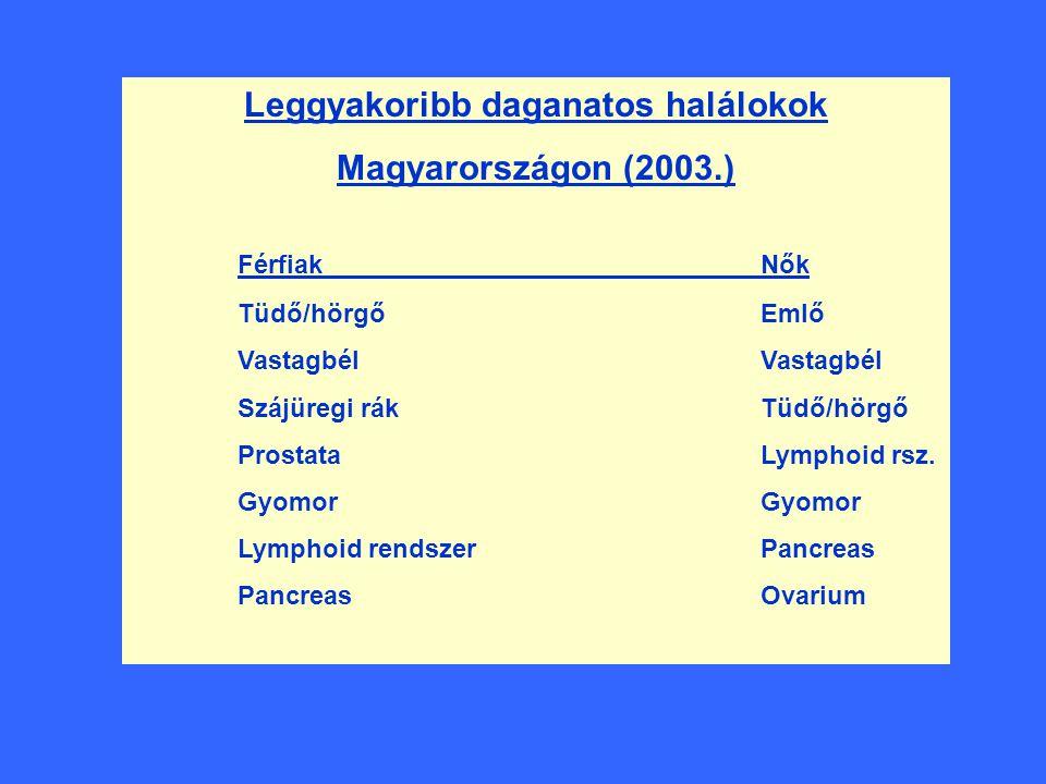 Leggyakoribb daganatos halálokok Magyarországon (2003.) FérfiakNők Tüdő/hörgőEmlőVastagbél Szájüregi rákTüdő/hörgő ProstataLymphoid rsz.Gyomor Lymphoi