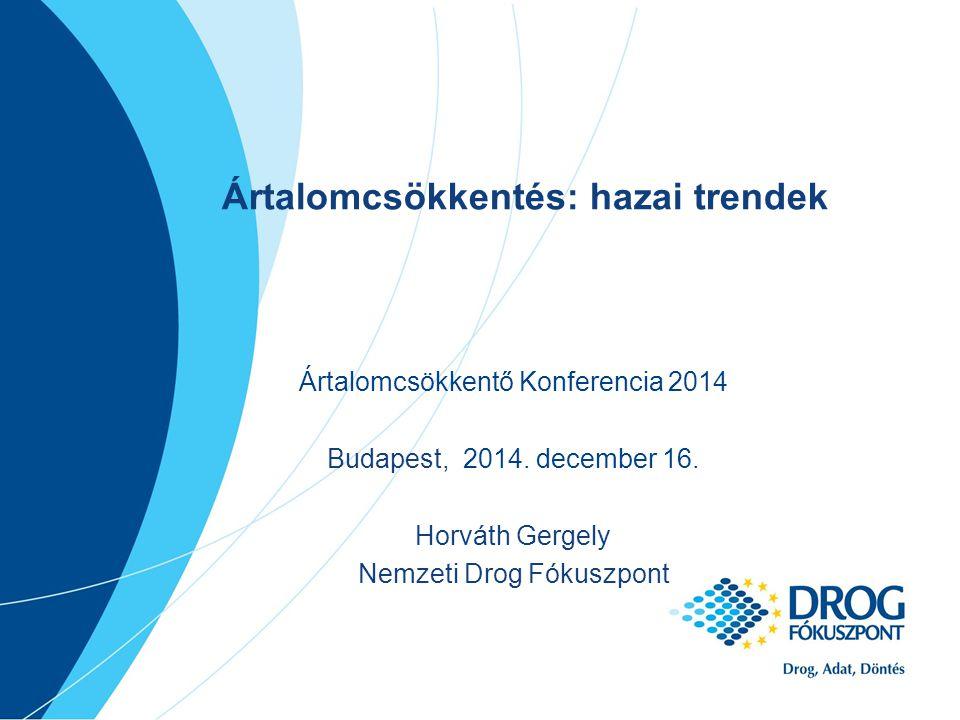 Egyéb eszközök, szolgáltatások (2013) N=28 Tanácsadás biztonságos injektálásról (szóbeli)24 Alkoholos törlőkendő21 Óvszer21 Vitamin20 HIV szűrővizsgálat17 HCV szűrővizsgálat16 Steril szűrő/filter14 Vénakrém13 Tanácsadás biztonságos injektálásról (írott szóróanyag)12 Egyéni kockázatfelmérés10 Steril főzőedény/kupak9 Aszkorbinsav/ savasító8 Előre összeállított, egységcsomagban kiszerelt steril inj.