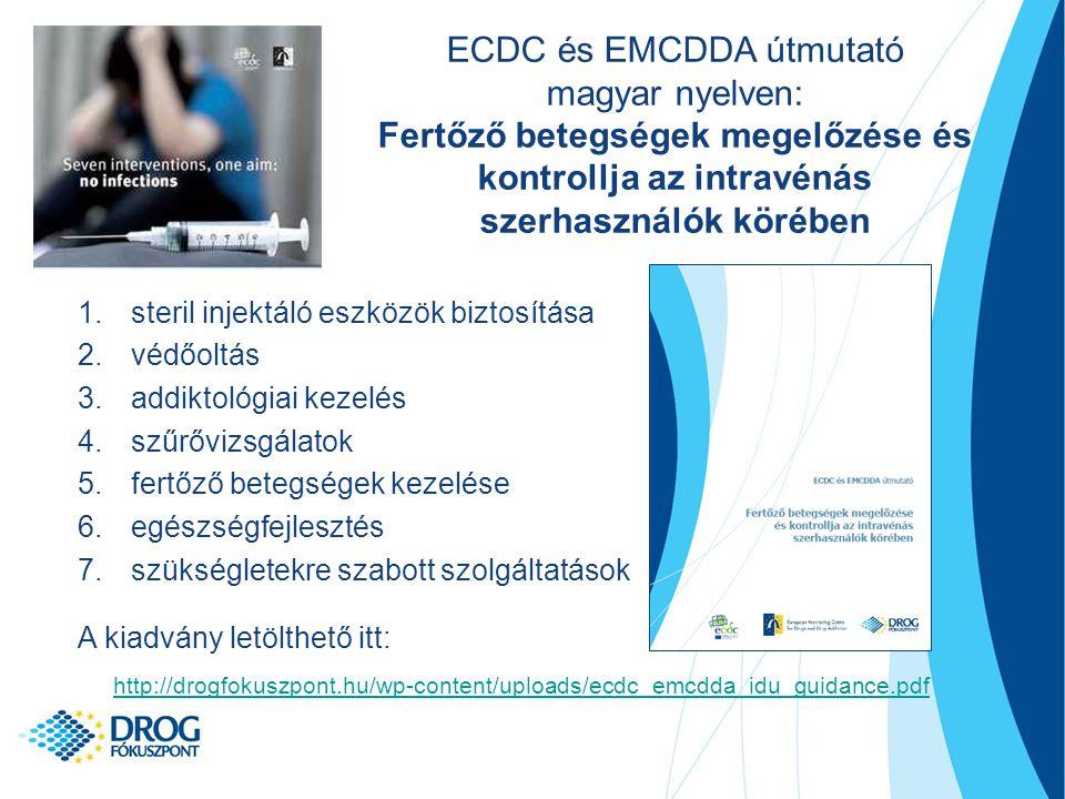 1.steril injektáló eszközök biztosítása 2.védőoltás 3.addiktológiai kezelés 4.szűrővizsgálatok 5.fertőző betegségek kezelése 6.egészségfejlesztés 7.szükségletekre szabott szolgáltatások A kiadvány letölthető itt: http://drogfokuszpont.hu/wp-content/uploads/ecdc_emcdda_idu_guidance.pdf ECDC és EMCDDA útmutató magyar nyelven: Fertőző betegségek megelőzése és kontrollja az intravénás szerhasználók körében
