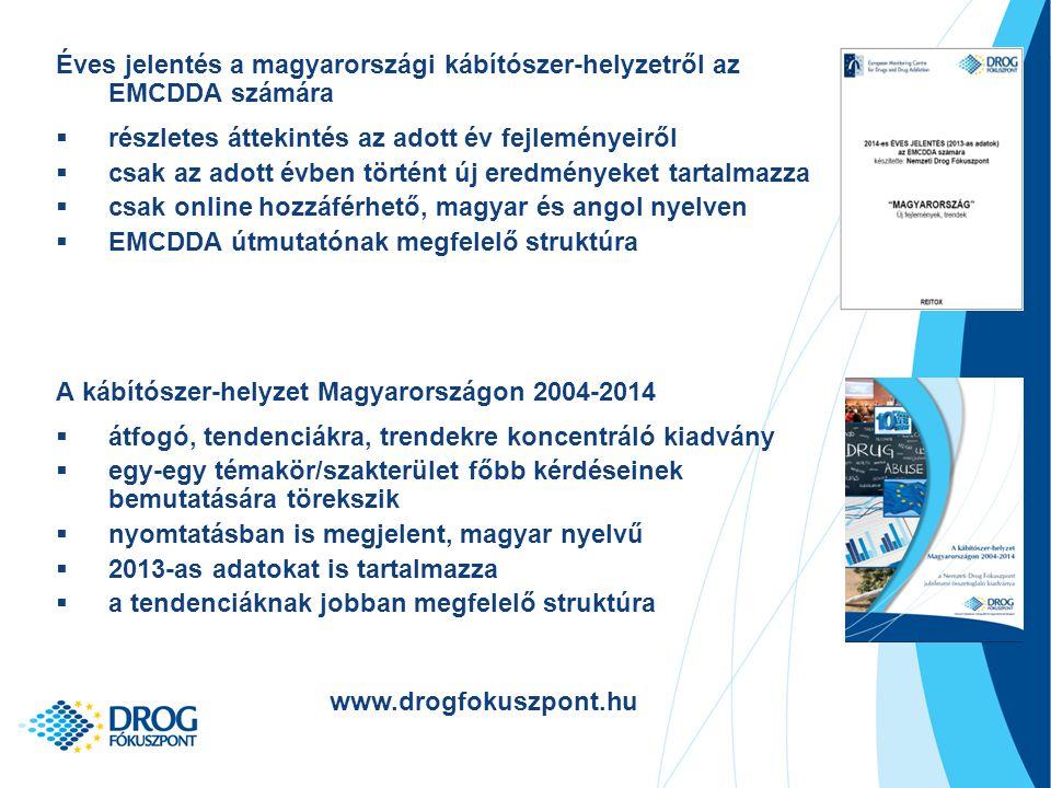 Éves jelentés a magyarországi kábítószer-helyzetről az EMCDDA számára  részletes áttekintés az adott év fejleményeiről  csak az adott évben történt új eredményeket tartalmazza  csak online hozzáférhető, magyar és angol nyelven  EMCDDA útmutatónak megfelelő struktúra A kábítószer-helyzet Magyarországon 2004-2014  átfogó, tendenciákra, trendekre koncentráló kiadvány  egy-egy témakör/szakterület főbb kérdéseinek bemutatására törekszik  nyomtatásban is megjelent, magyar nyelvű  2013-as adatokat is tartalmazza  a tendenciáknak jobban megfelelő struktúra www.drogfokuszpont.hu