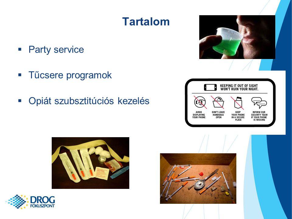 Tartalom  Party service  Tűcsere programok  Opiát szubsztitúciós kezelés