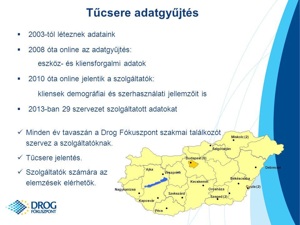 Forrás: TDI adatgyűjtés (OAC 2014); elemezte: Nemzeti Drog Fókuszpont Opiát szubsztitúció  2007-2013 között kb.