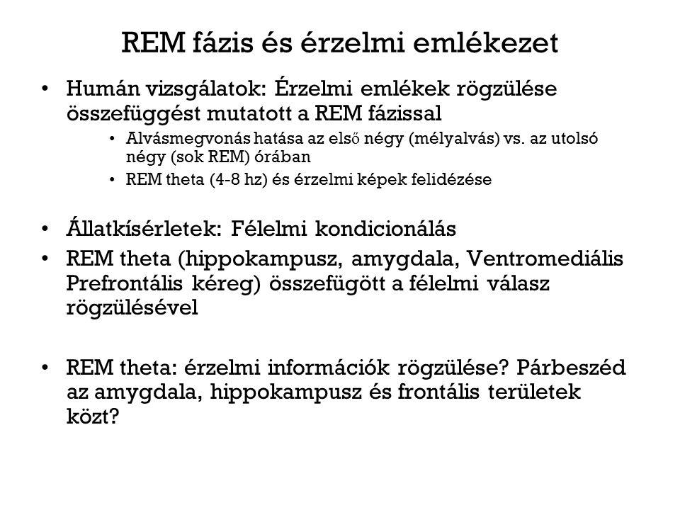 REM fázis és érzelmi emlékezet Humán vizsgálatok: Érzelmi emlékek rögzülése összefüggést mutatott a REM fázissal Alvásmegvonás hatása az els ő négy (m