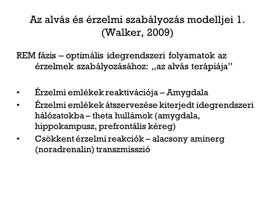 """Az alvás és érzelmi szabályozás modelljei 1. (Walker, 2009) REM fázis – optimális idegrendszeri folyamatok az érzelmek szabályozásához: """"az alvás terá"""