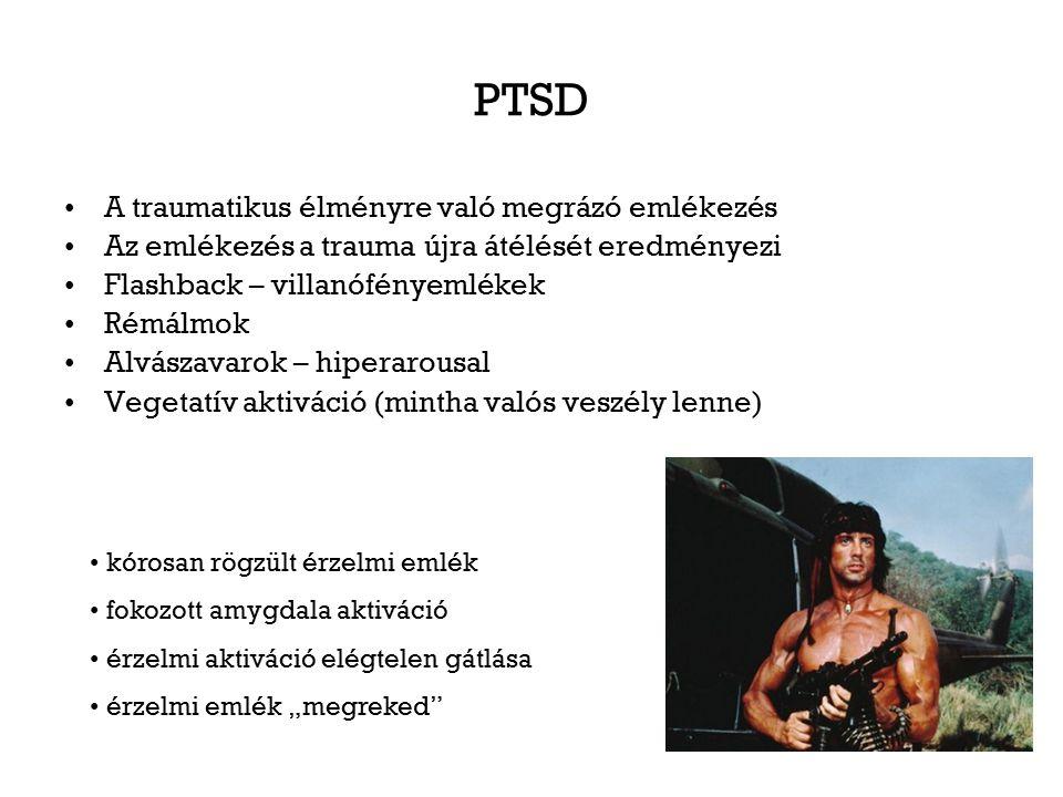 PTSD A traumatikus élményre való megrázó emlékezés Az emlékezés a trauma újra átélését eredményezi Flashback – villanófényemlékek Rémálmok Alvászavaro