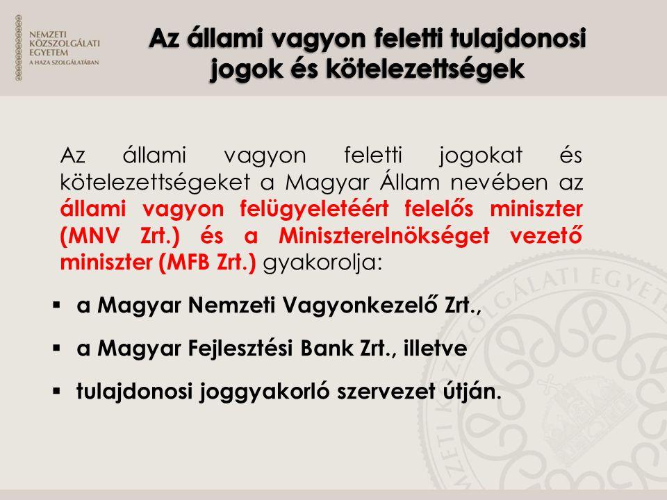 Az állami vagyon feletti jogokat és kötelezettségeket a Magyar Állam nevében az állami vagyon felügyeletéért felelős miniszter (MNV Zrt.) és a Miniszt