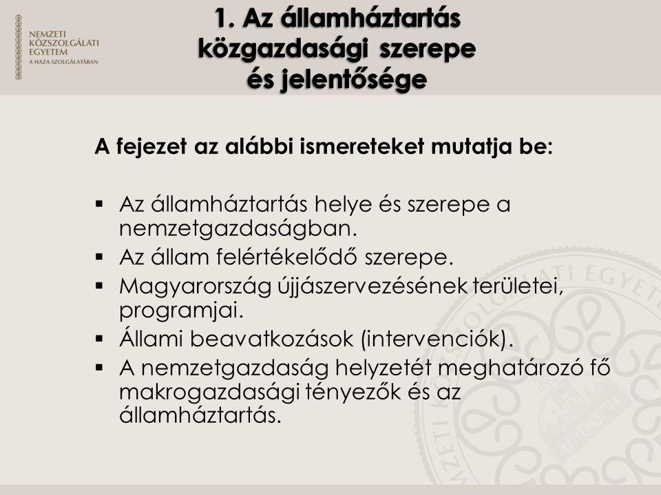 A fejezet az alábbi ismereteket mutatja be:  Az államháztartás helye és szerepe a nemzetgazdaságban.  Az állam felértékelődő szerepe.  Magyarország