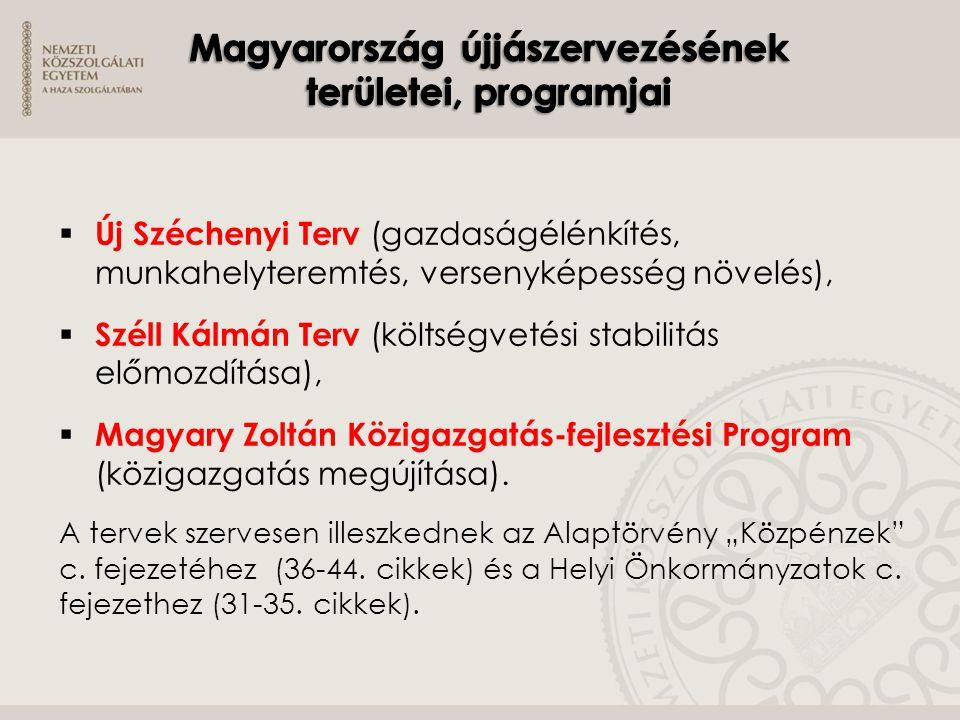  Új Széchenyi Terv (gazdaságélénkítés, munkahelyteremtés, versenyképesség növelés),  Széll Kálmán Terv (költségvetési stabilitás előmozdítása),  Ma