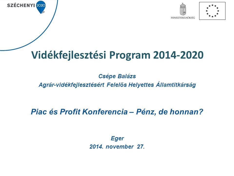 Vidékfejlesztési Program 2014-2020 Csépe Balázs Agrár-vidékfejlesztésért Felelős Helyettes Államtitkárság Piac és Profit Konferencia – Pénz, de honnan.