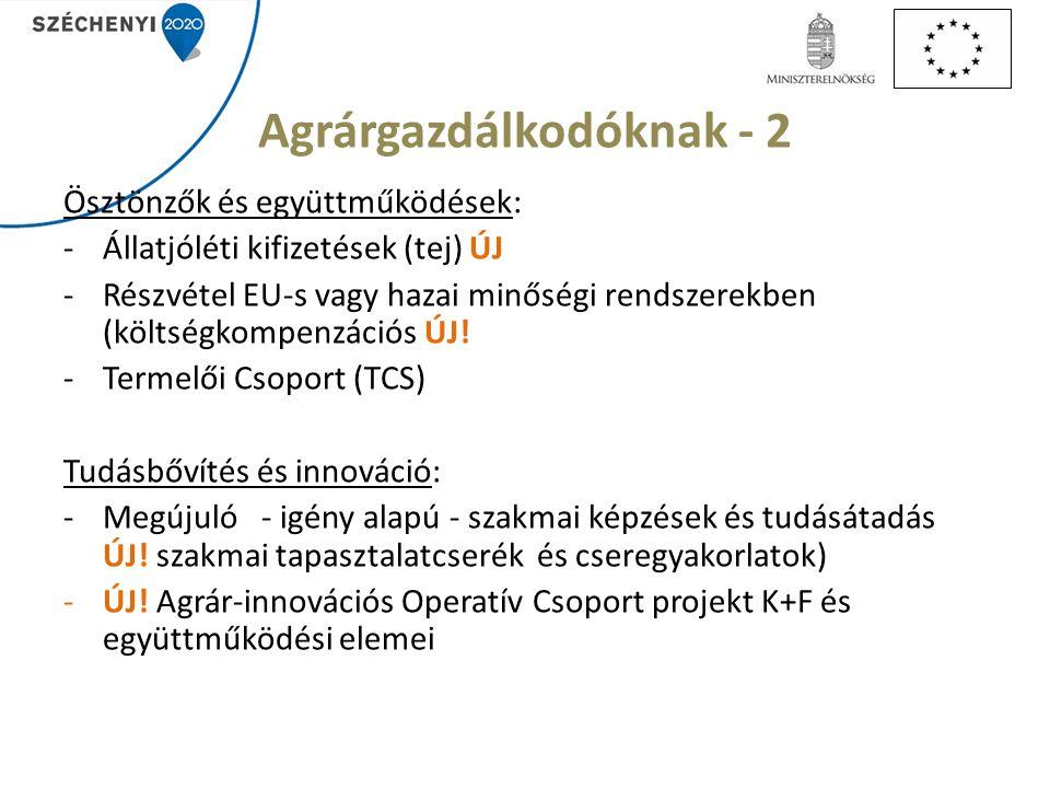 Agrárgazdálkodóknak - 2 Ösztönzők és együttműködések: -Állatjóléti kifizetések (tej) ÚJ -Részvétel EU-s vagy hazai minőségi rendszerekben (költségkompenzációs ÚJ.