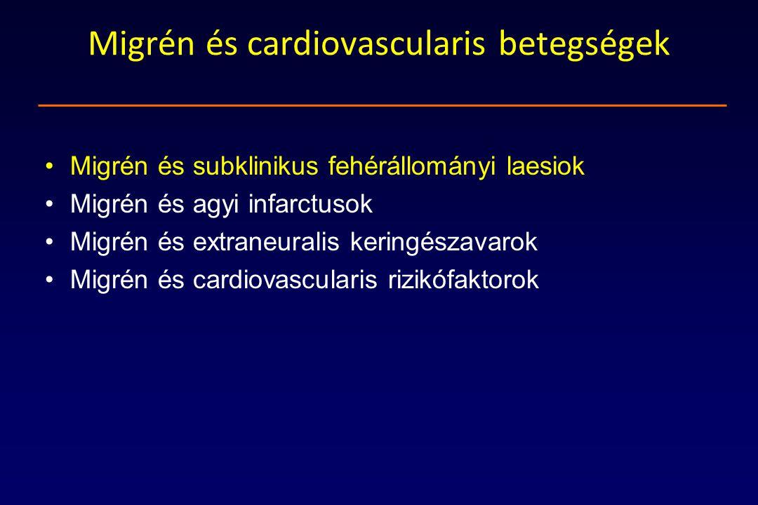 Migrén és cardiovascularis betegségek Migrén és subklinikus fehérállományi laesiok Migrén és agyi infarctusok Migrén és extraneuralis keringészavarok