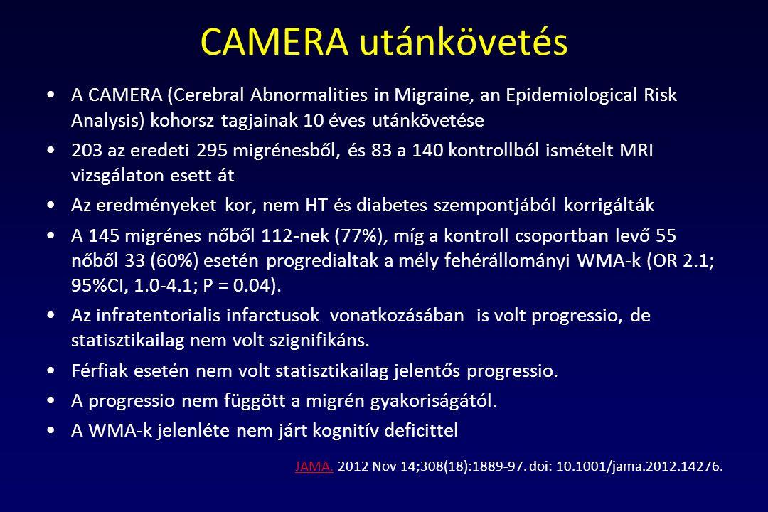 CAMERA utánkövetés A CAMERA (Cerebral Abnormalities in Migraine, an Epidemiological Risk Analysis) kohorsz tagjainak 10 éves utánkövetése 203 az erede