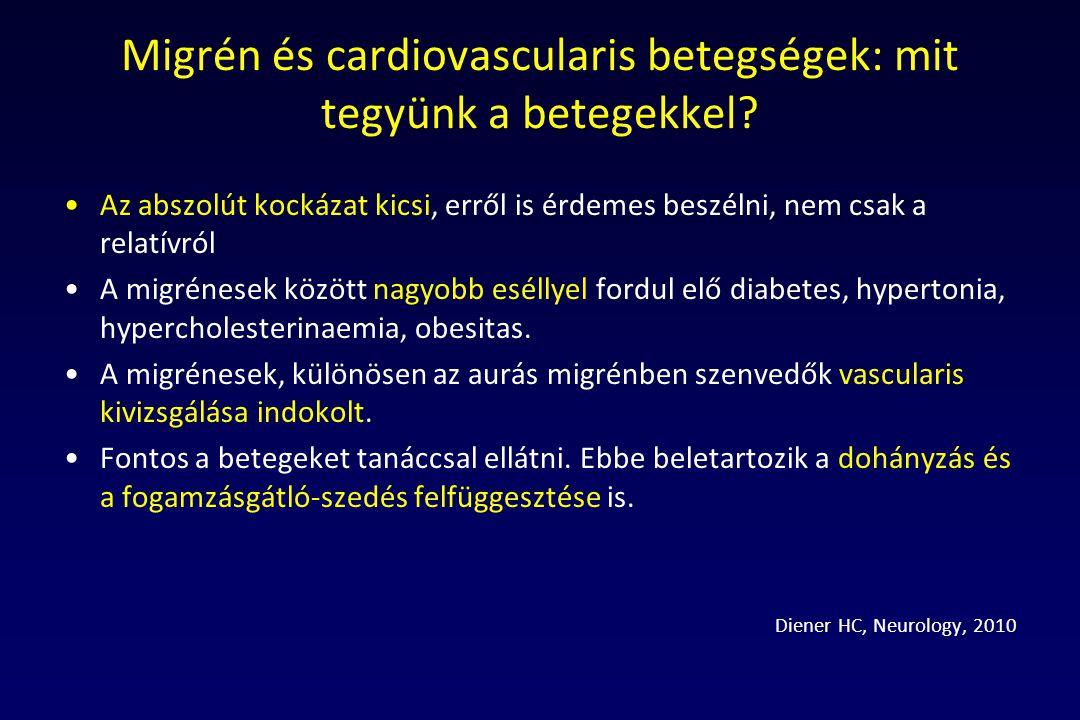 Migrén és cardiovascularis betegségek: mit tegyünk a betegekkel? Az abszolút kockázat kicsi, erről is érdemes beszélni, nem csak a relatívról A migrén