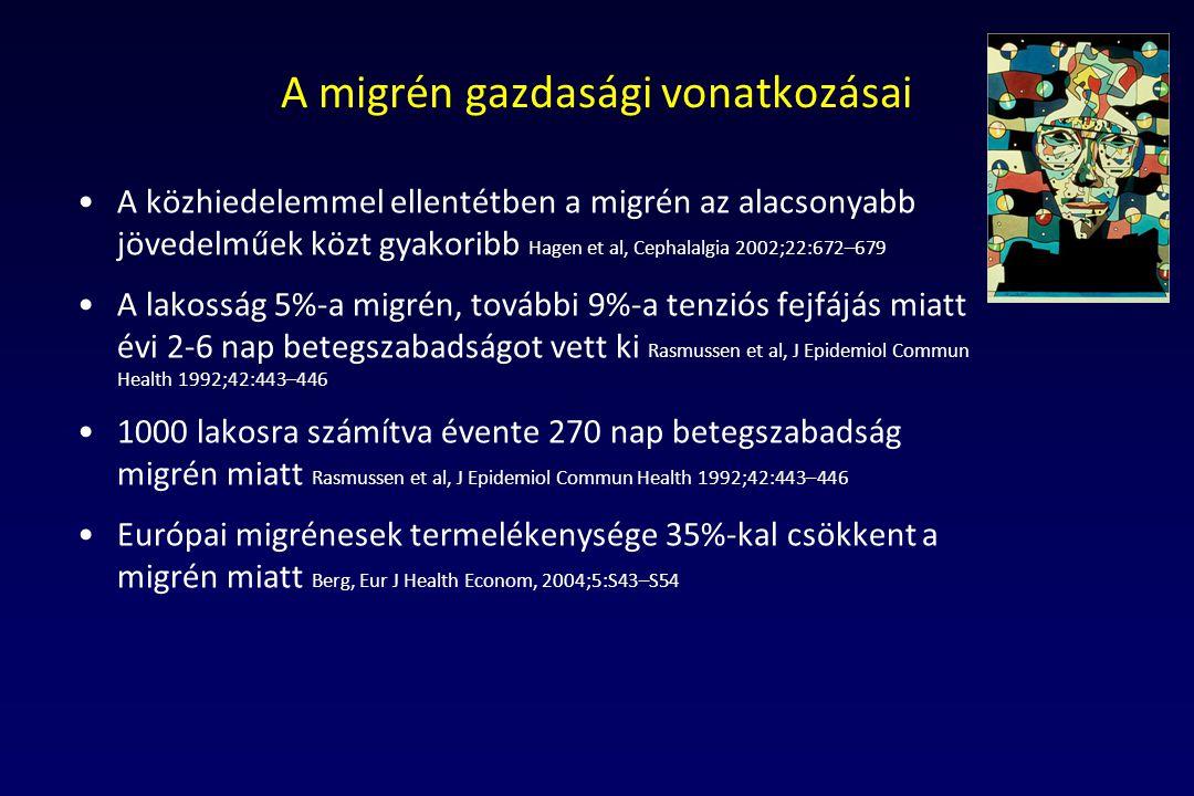 A migrén gazdasági vonatkozásai A közhiedelemmel ellentétben a migrén az alacsonyabb jövedelműek közt gyakoribb Hagen et al, Cephalalgia 2002;22:672–6