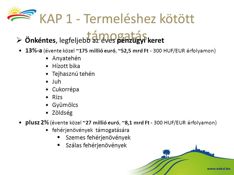 KAP 1 - Termeléshez kötött támogatás  Önkéntes, legfeljebb az éves pénzügyi keret 13%-a (évente közel ~175 millió euró, ~52,5 mrd Ft - 300 HUF/EUR ár
