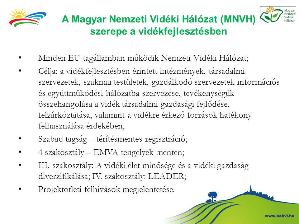 A Magyar Nemzeti Vidéki Hálózat (MNVH) szerepe a vidékfejlesztésben Minden EU tagállamban működik Nemzeti Vidéki Hálózat; Célja: a vidékfejlesztésben