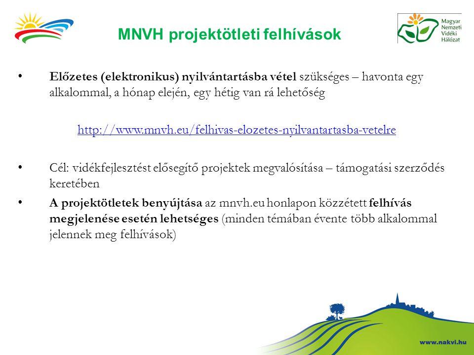 MNVH projektötleti felhívások Előzetes (elektronikus) nyilvántartásba vétel szükséges – havonta egy alkalommal, a hónap elején, egy hétig van rá lehet