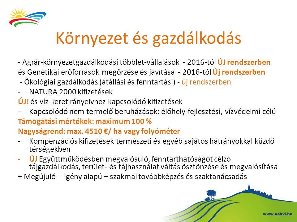 Környezet és gazdálkodás - Agrár-környezetgazdálkodási többlet-vállalások - 2016-tól ÚJ rendszerben és Genetikai erőforrások megőrzése és javítása - 2