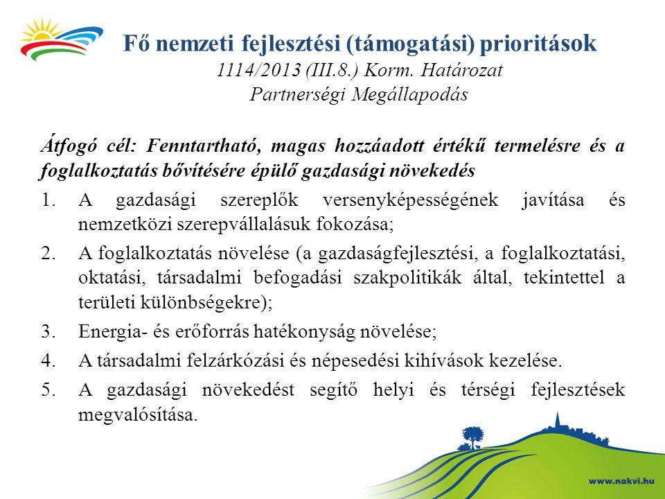 Fő nemzeti fejlesztési (támogatási) prioritá sok 1114/2013 (III.8.) Korm. Határozat Partnerségi Megállapodás Átfogó cél: Fenntartható, magas hozzáadot