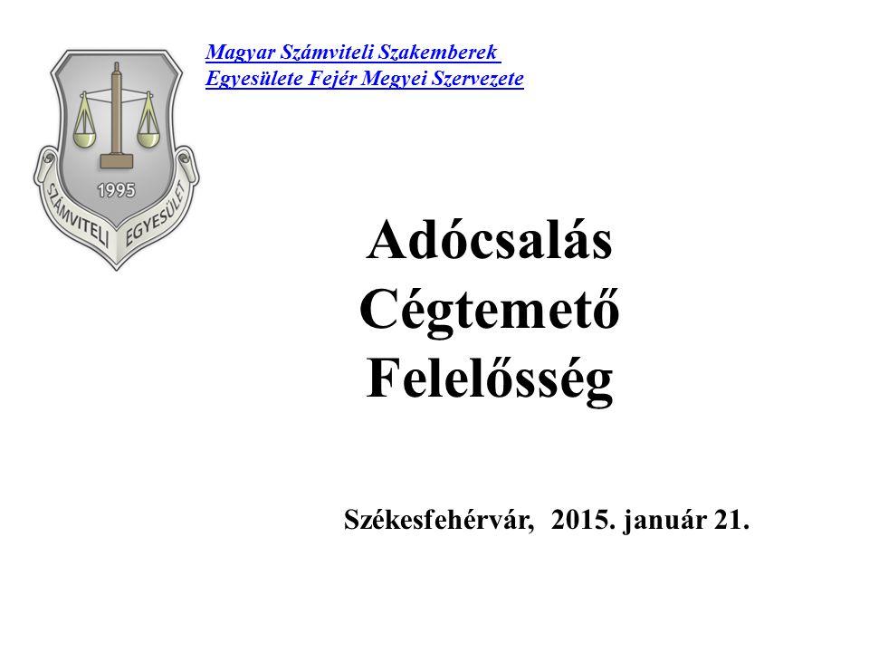 Adócsalás Cégtemető Felelősség Székesfehérvár, 2015. január 21. Magyar Számviteli Szakemberek Egyesülete Fejér Megyei Szervezete
