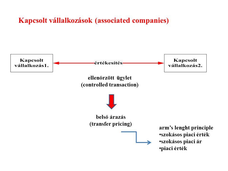 Kapcsolt vállalkozások (associated companies) ellenőrzött ügylet (controlled transaction) arm's lenght principle szokásos piaci érték szokásos piaci á