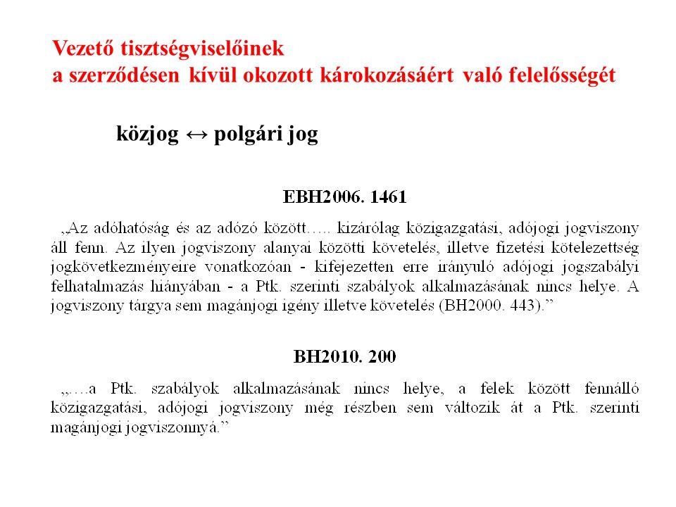 Vezető tisztségviselőinek a szerződésen kívül okozott károkozásáért való felelősségét közjog ↔ polgári jog