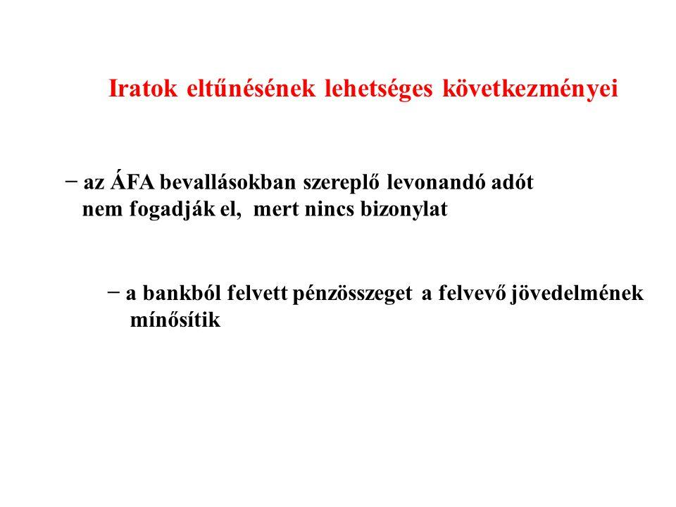 Iratok eltűnésének lehetséges következményei − az ÁFA bevallásokban szereplő levonandó adót nem fogadják el, mert nincs bizonylat − a bankból felvett