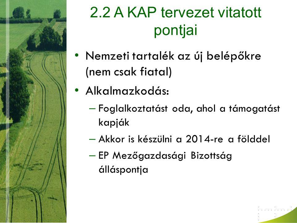 2.2 A KAP tervezet vitatott pontjai Nemzeti tartalék az új belépőkre (nem csak fiatal) Alkalmazkodás: – Foglalkoztatást oda, ahol a támogatást kapják – Akkor is készülni a 2014-re a földdel – EP Mezőgazdasági Bizottság álláspontja