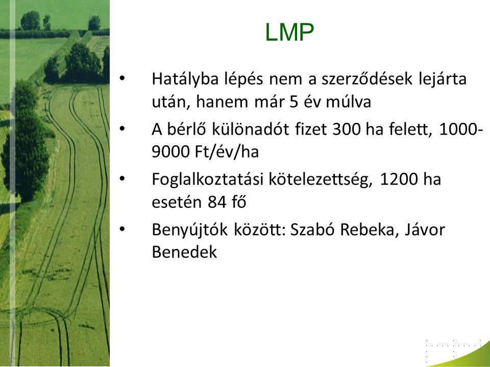 LMP Hatályba lépés nem a szerződések lejárta után, hanem már 5 év múlva A bérlő különadót fizet 300 ha felett, 1000- 9000 Ft/év/ha Foglalkoztatási kötelezettség, 1200 ha esetén 84 fő Benyújtók között: Szabó Rebeka, Jávor Benedek