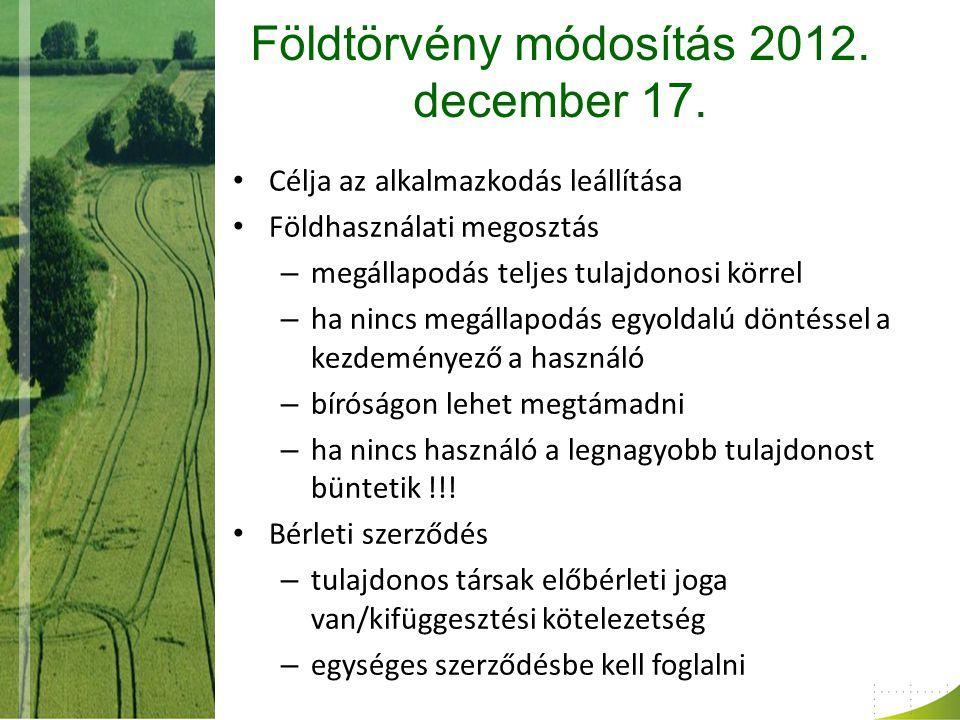Földtörvény módosítás 2012. december 17.