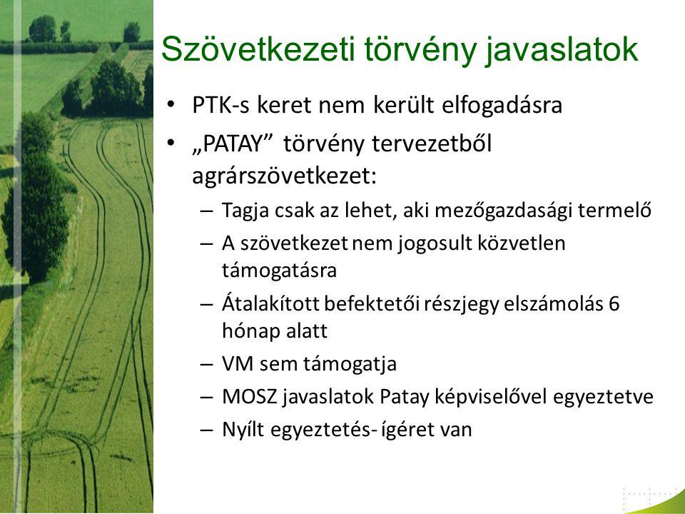 """Szövetkezeti törvény javaslatok PTK-s keret nem került elfogadásra """"PATAY törvény tervezetből agrárszövetkezet: – Tagja csak az lehet, aki mezőgazdasági termelő – A szövetkezet nem jogosult közvetlen támogatásra – Átalakított befektetői részjegy elszámolás 6 hónap alatt – VM sem támogatja – MOSZ javaslatok Patay képviselővel egyeztetve – Nyílt egyeztetés- ígéret van"""