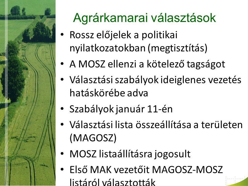 Agrárkamarai választások Rossz előjelek a politikai nyilatkozatokban (megtisztítás) A MOSZ ellenzi a kötelező tagságot Választási szabályok ideiglenes vezetés hatáskörébe adva Szabályok január 11-én Választási lista összeállítása a területen (MAGOSZ) MOSZ listaállításra jogosult Első MAK vezetőit MAGOSZ-MOSZ listáról választották