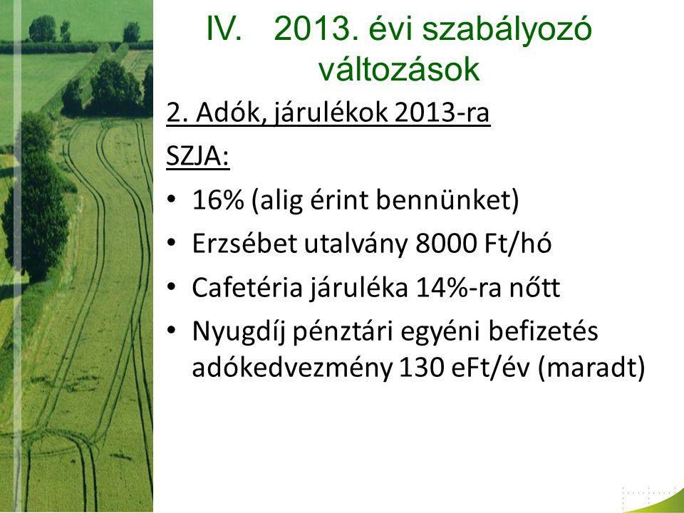 IV.2013. évi szabályozó változások 2.