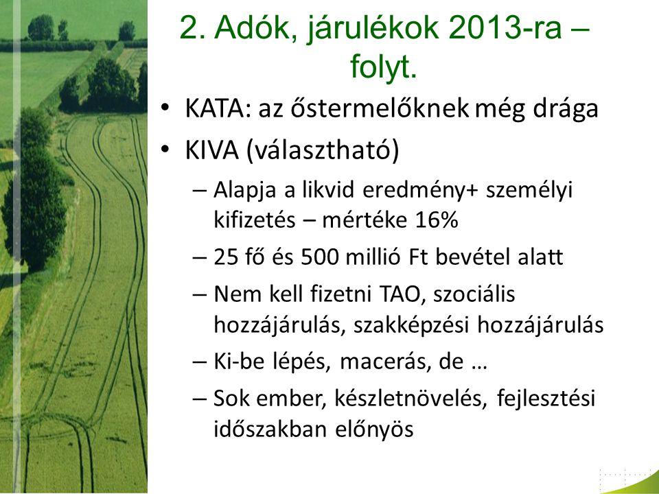 2. Adók, járulékok 2013-ra – folyt.
