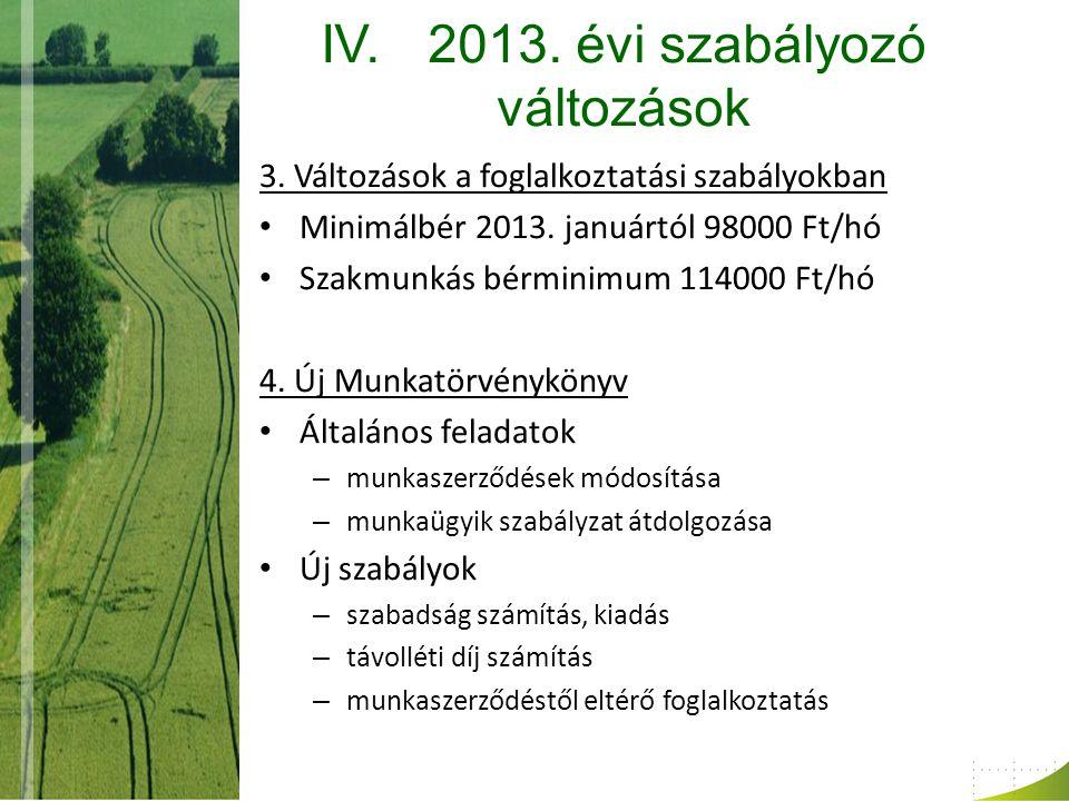 IV.2013. évi szabályozó változások 3. Változások a foglalkoztatási szabályokban Minimálbér 2013.