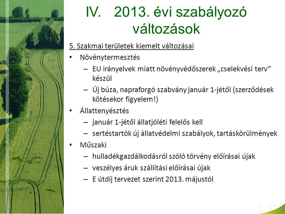 IV.2013. évi szabályozó változások 5.