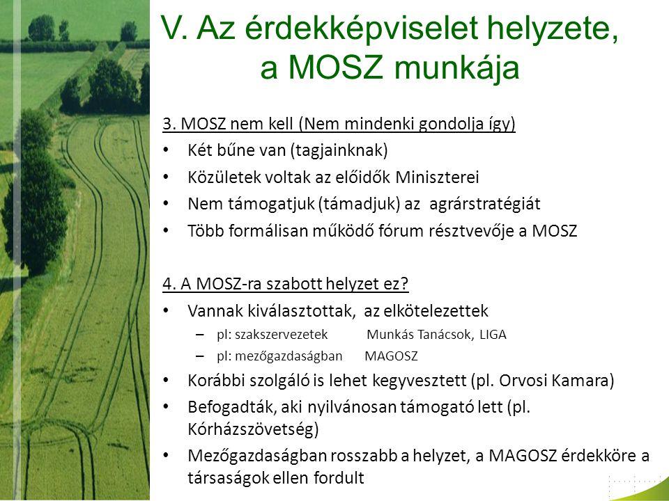 V. Az érdekképviselet helyzete, a MOSZ munkája 3.