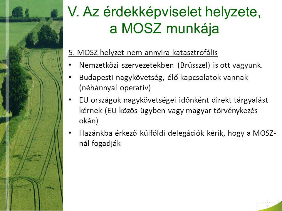 V. Az érdekképviselet helyzete, a MOSZ munkája 5.