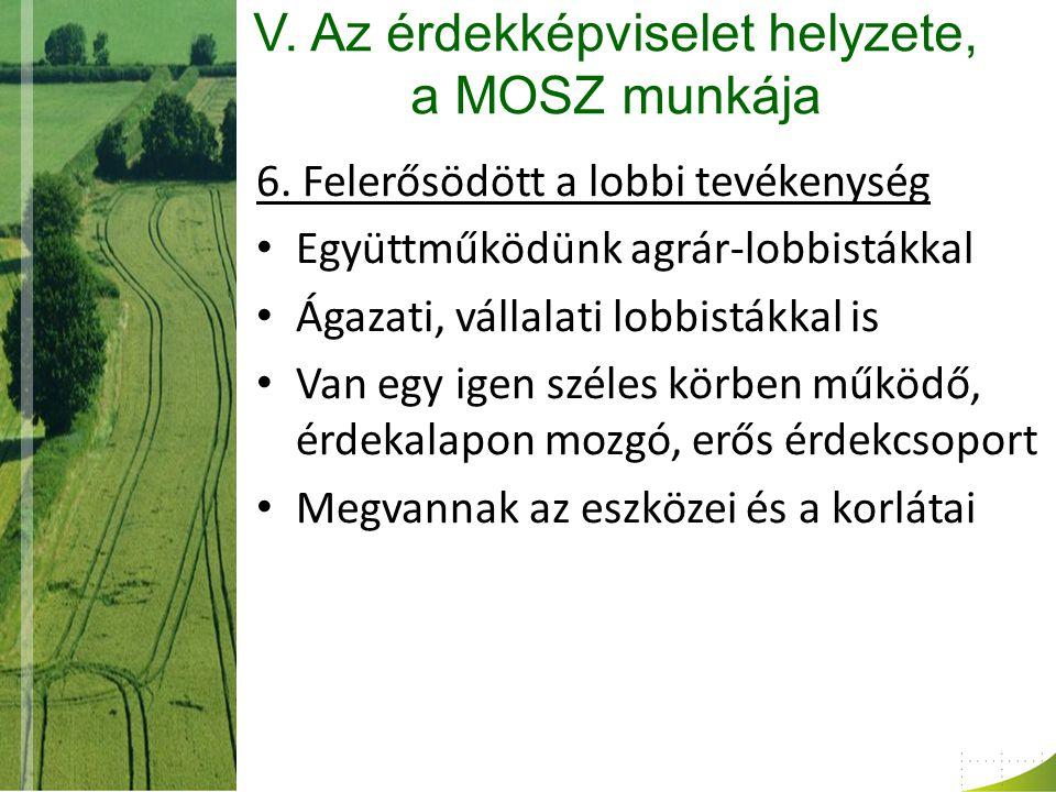 V. Az érdekképviselet helyzete, a MOSZ munkája 6.