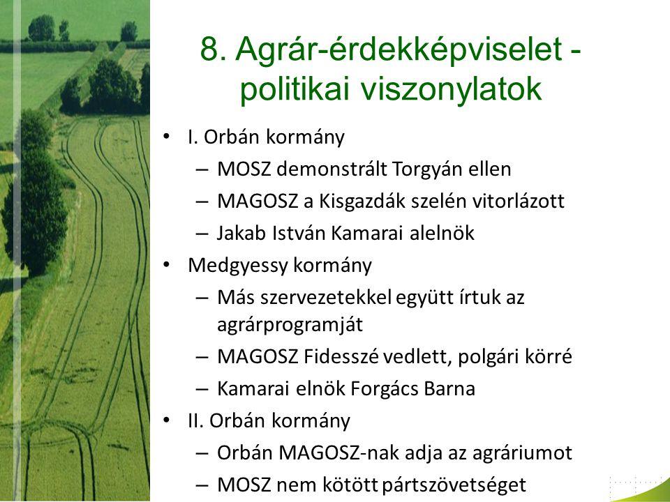 8. Agrár-érdekképviselet - politikai viszonylatok I.