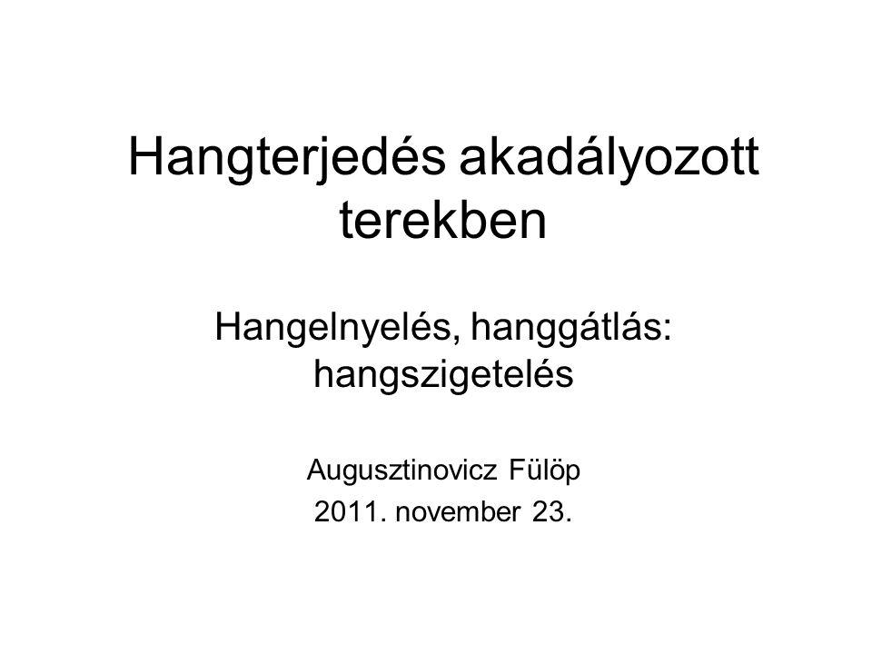 Hangterjedés akadályozott terekben Hangelnyelés, hanggátlás: hangszigetelés Augusztinovicz Fülöp 2011. november 23.