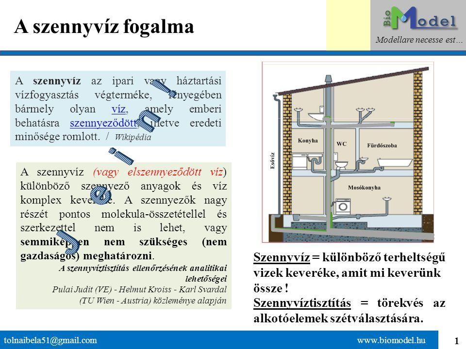 1 A szennyvíz fogalma tolnaibela51@gmail.com www.biomodel.hu Modellare necesse est… A szennyvíz az ipari vagy háztartási vízfogyasztás végterméke, lényegében bármely olyan víz, amely emberi behatásra szennyeződött, illetve eredeti minősége romlott.
