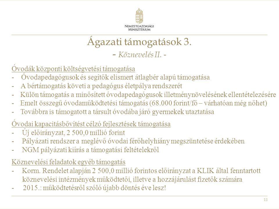 11 Ágazati támogatások 3. - Köznevelés II. - Óvodák központi költségvetési támogatása - Óvodapedagógusok és segítők elismert átlagbér alapú támogatása