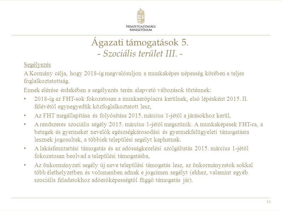 14 Ágazati támogatások 5. - Szociális terület III. - Segélyezés A Kormány célja, hogy 2018-ig megvalósuljon a munkaképes népesség körében a teljes fog